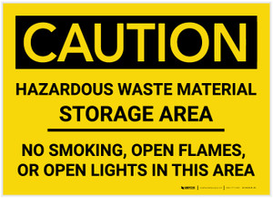 Caution: Hazardous Waste Material Storage Area - Label