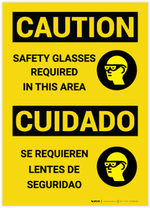Caution: Safety Glasses Required in Area Bilingual - Label