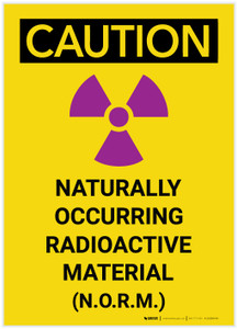 Caution: N.O.R.M - Naturally Occurring Radioactive Material Vertical - Label
