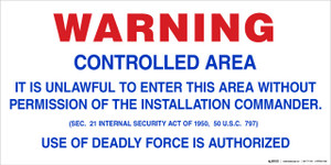 Floor Sign - Military Entrance Warning