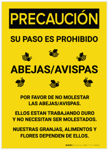 Caution: Bee Safety Spanish - Label
