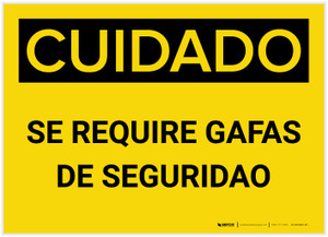 Caution: Safety Glasses Required Spanish - Label