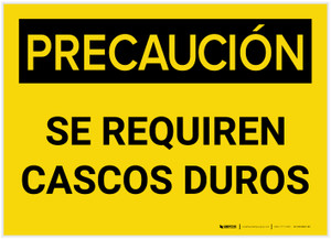 Caution: Hard Hats Required Spanish - Label