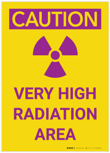 Caution: Very High Radiation Area Portrait with Graphic - Label