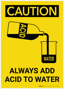 Caution: Always Add Acid to Water Portrait - Label