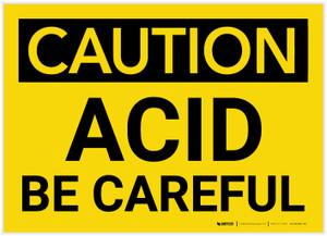 Caution: Acid - Be Careful - Label
