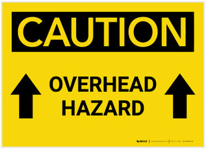 Caution: Overhead Hazard Arrows Up - Label