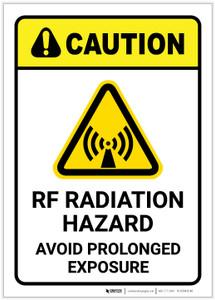 Caution: RF Radiation Hazard Avoid Prolonged Exposure With Graphic - Label