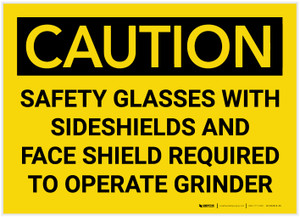 Caution: Safety Glasses With Sideshields Required - Label