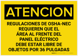 Caution: OSHA NEC Regulations Requires Spanish - Label