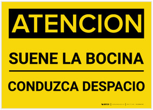 Caution: Sound Horn Spanish - Label
