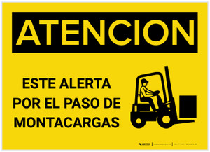 Caution: Watch For Forklifts Spanish - Label