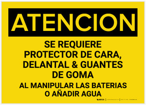 Caution: When Handling Batteries Or Adding Water Spanish - Label