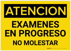 Caution: Testing In Progress Do Not Disturb Spanish - Label