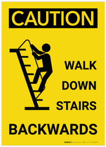 Caution: Walk Down Stairs Backward Vertical with Graphic - Label