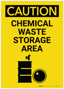 Caution: Waste Storage Area Vertical with Graphic - Label