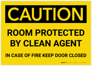 Caution: Room Protected by Clean Agent Keep Door Closed - Label