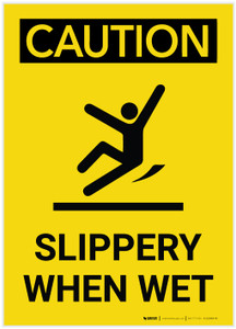 Caution: Slippery When Wet With Graphic Vertical - Label