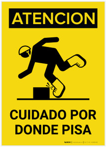 Caution: Watch Where You Step Spanish Portrait with Graphic - Label