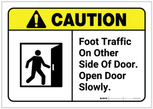 Caution: Foot Traffic On Other Side of Door with Graphic ANSI - Label