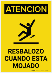 Caution: Floor Slippery When Wet Spanish Portrait With Graphic - Label