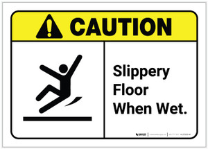 Caution: Slippery Floor When Wet with Graphic ANSI - Label