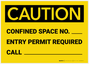 Caution: Confined Space No. Permit Required - Label