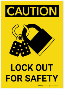 Caution: Lock Out For Safety - Label