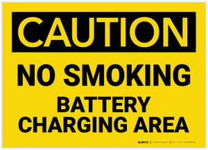 Caution: No Smoking Battery Charging Area - Label