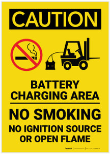 Caution: Battery Charging Area Forklift No Smoking Open Flame Vertical - Label