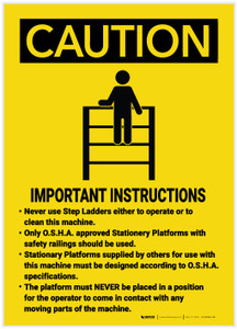 Caution: Operating Machine Important Instructions - Label