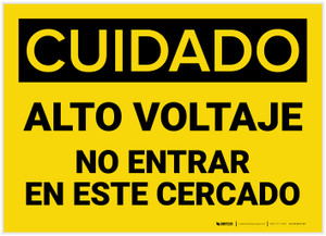 Caution: High Voltage Do Not Enter Enclosure Spanish - Label