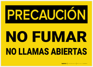 Caution: No Smoking No Open Flames Spanish - Label