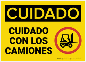 Caution: Watch For Lift Trucks Spanish - Label