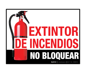 Extintor de Incendios  - No Bloquear (Fire Extinguisher - Do Not Block) - Floor Sign