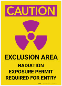 Caution: Exclusion Area Radiation with Icon Portrait - Label