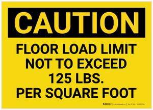 Caution: Floor Load Limit 125 Lbs Landscape - Label
