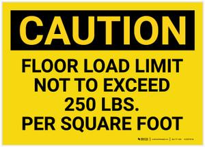 Caution: Floor Load Limit 250 Lbs Landscape - Label