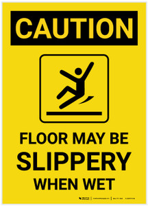 Caution: Floor May Be Slippery When Wet with Icon Portrait - Label