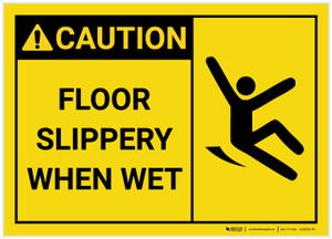 Caution: Floor Slippery When Wet with Icon Landscape - Label