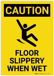 Caution: Floor Slippery When Wet with Icon Portrait - Label