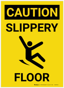Caution: Slippery Floor with Icon Portrait - Label