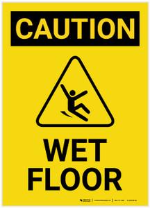 Caution: Wet Floor with Icon Portrait - Label