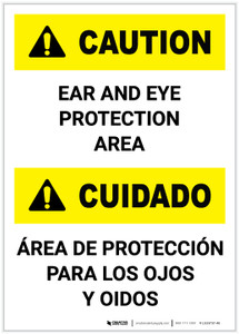 Caution: Ear and Eye Protection Area Bilingual Portrait - Label