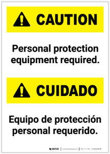 Caution: Personal Protection Equipment Required Bilingual Portrait - Label