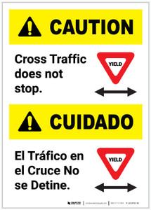 Caution: Cross Traffic Does Not Stop Bilingual Portrait - Label