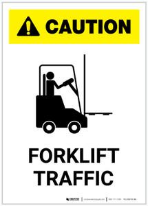 Caution: Forklift Traffic Portrait ANSI - Label