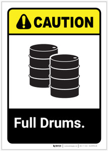 Caution: Full Drums Portrait ANSI - Label