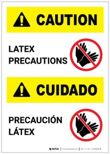 Caution: Latex Precautions Bilingual (Spanish) Portrait - Label