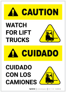 Caution: Lift Trucks Bilingual (Spanish) Portrait - Label